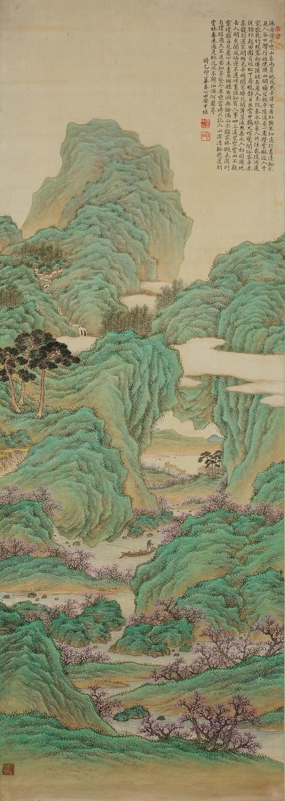 안중식. '도원행주' (비단에 색, 143.5x50.7cm 국립중앙박물관 소장, 1981년 이홍근 기증).