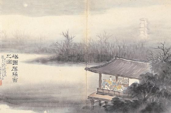 안중식, '탑원도소회지도'(1912,23.4x35.4cm 간송미술문화재단 소장). [사진 국립중앙박물관]