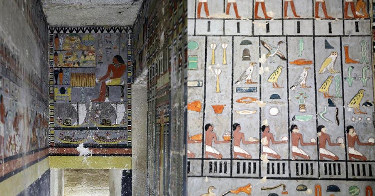 이집트 사카라 지역에서 새로 발견된 고대 무덤의 내부[이집트 고대유물부=연합뉴스]