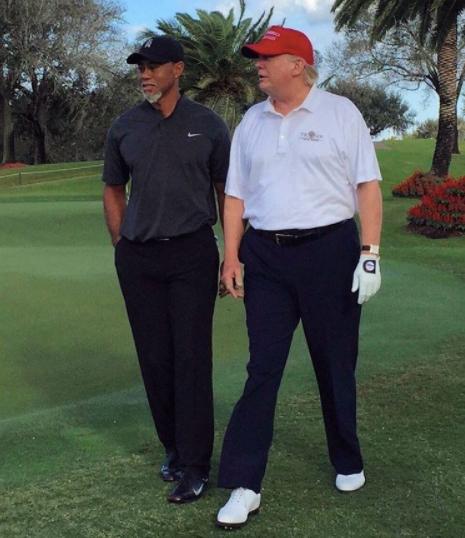 타이거 우즈(왼쪽)와 도널드 트럼프 미국 대통령. [사진 인스타그램]