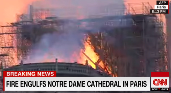 미국 CNN 방송 노트르담 대성당 화재 속보. [사진 CNN 캡처]