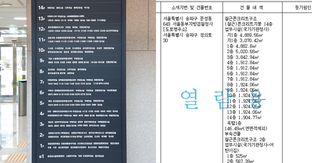 서울동부지검의 안내판과 등기부등본 내역. 지하 1층부터 지상 14층으로 이루어져 있다. 이가영 기자