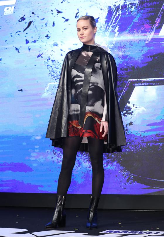 15일 기자회견에 참석한 '어벤져스: 엔드 게임'의 배우. '캡틴 마블' 브리 라슨. [뉴스1]