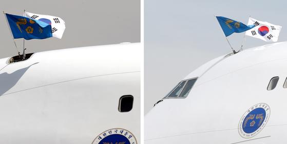 공군1호기 위에 뒤집힌 태극기(왼쪽)가 16일 오후 펄럭이고 있다. 오른쪽은 대통령 출국 직전 제자리를 잡은 태극기 모습. 강정현 기자,[뉴시스]
