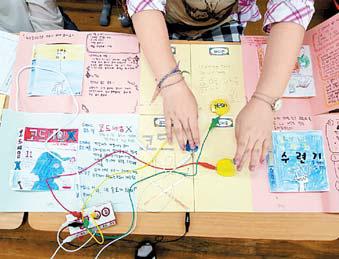 서울 신사초 학생들의 메이커 수업 모습.