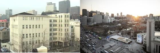 성공회교회 앞에 국세청 남대문 별관이 있을 때(왼쪽)와 서울도시건축전시관이 들어선 현재의 모습. [서울시 제공]