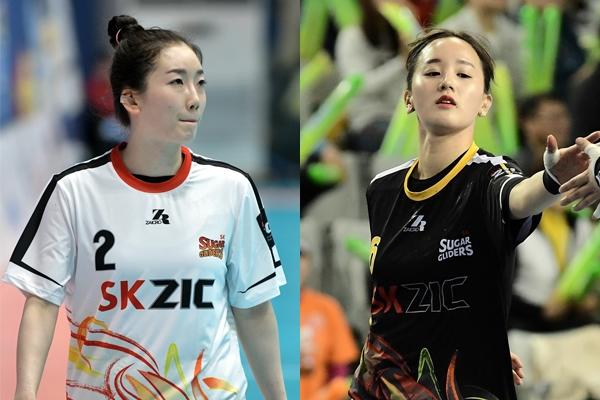 SK슈가글라이더즈 라이트윙 김선화(왼쪽)와 레프트윙 최수지. 대한핸드볼협회 제공