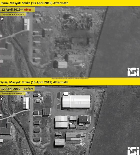 이스라엘 위성영상업체 ISI가 공개한 시리아 미사일 개발기지 전후 모습. 폭격 전(아래) 사진에 보이던 건물 세 곳이 폭격 후(위) 없어졌다. [ISI 트위터]