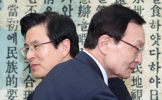 자유한국당 황교안 대표(왼쪽)와 민주당 이해찬 대표. [연합뉴스]
