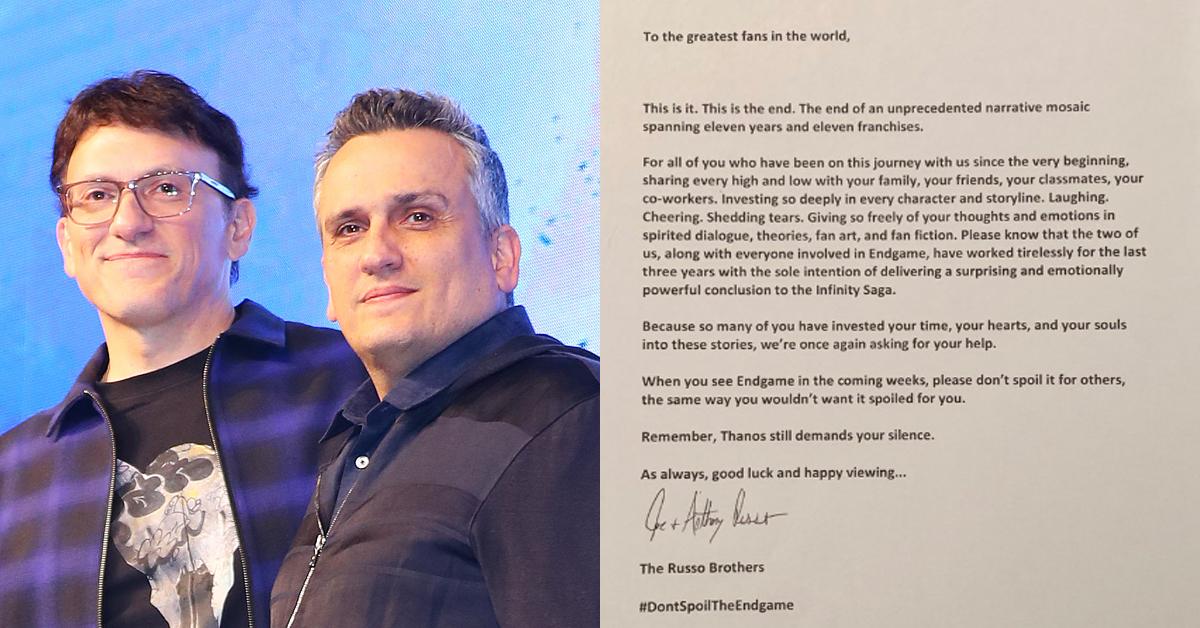 '어벤져스:엔드게임'의 안소니 루소, 조 루소 감독(왼쪽)이 팬들에게 보낸 편지. [일간스포츠, 루소 형제 트위터 캡처]
