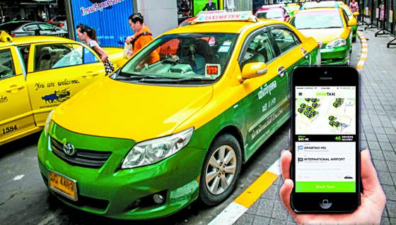 동남아에서 많은 사람이 사용하는 공유 서비스 '그랩' 앱은 스마트폰 하나로 일반 승용차와 택시·오토바이 등을 부를 수 있다. [사진 그랩]