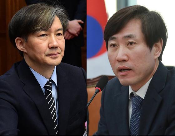 조국 청와대 민정수석(왼쪽), 바른미래당 하태경 최고위원. [중앙포토, 뉴스1]