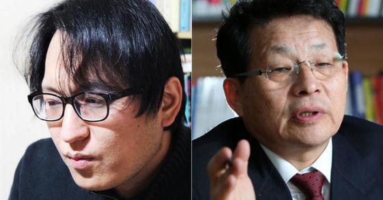 박진성 시인(왼), 차명진 전 의원. [박진성 시인 페이스북, 중앙포토]