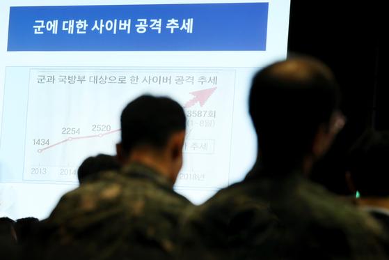 지난해 11월 서울 중구 웨스틴 조선호텔에서 열린 '2018 국방 사이버 안보 콘퍼런스'에서 군인들이 이재우 동국대학교 석좌교수가 기조연설을 경청하고 있다. [사진 연합뉴스]