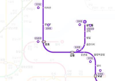 지하철 5호선 광나루~강동역 단전사고 구간