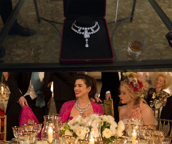 까르띠에의 크리에이티브 디렉터로 일했던 '쟌느 투생'이 목걸이 이름의 주인공. 까르띠에는 그녀를 기리기 위해 영화의 화려한 주인공인 다이아몬드 목걸이에 투생이라는 이름을 선사했다. [사진 영화 '오션스8' 캡처]