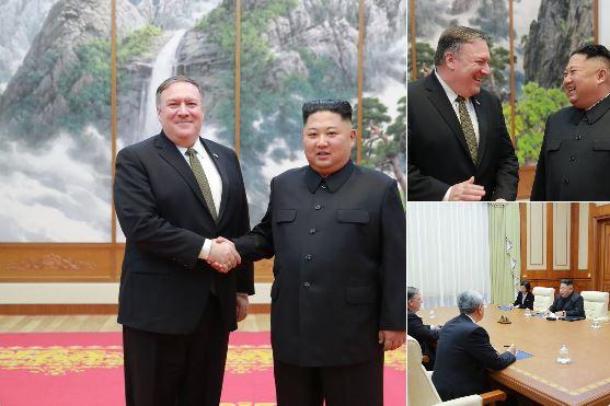 마이크 폼페이오 미국 국무장관이 지난해 10월 7일 평양에서 김정은 국무위원장과 만나 악수하고 있다. [뉴시스=도널드 트럼프 미 대통령 트위터]