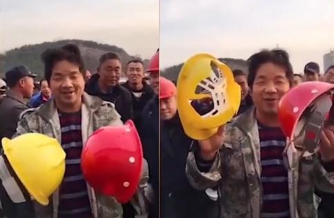 중국서 800원짜리 불량 안전모 논란…튼튼한 건 간부용