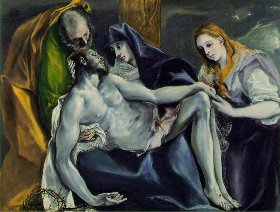 십자가에서 내린 예수의 주검을 어머니 마리아가 안고 있다. 엘 그레코의 작품.