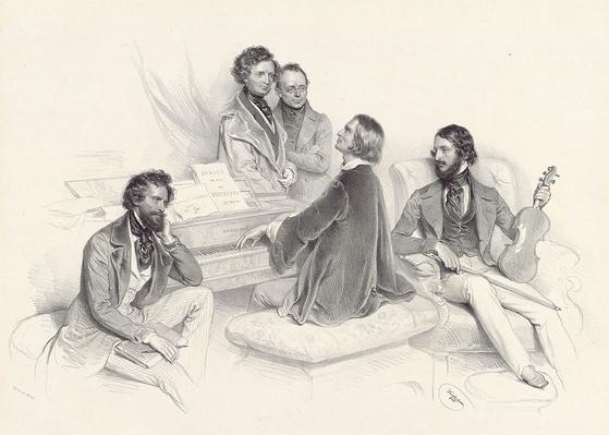 리스트의 음악 모임. 왼쪽부터 요세프 크리후버(화가), 베를리오즈, 체르니, 리스트, 하인리히 에른스트. 크리후버 그림, 석판화. 1846. [그림 Wikimedia Commons (Public Domain)]