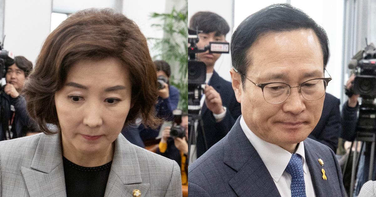 나경원 한국당 원내대표(왼쪽)와 홍영표 민주당 원내대표. [뉴시스]