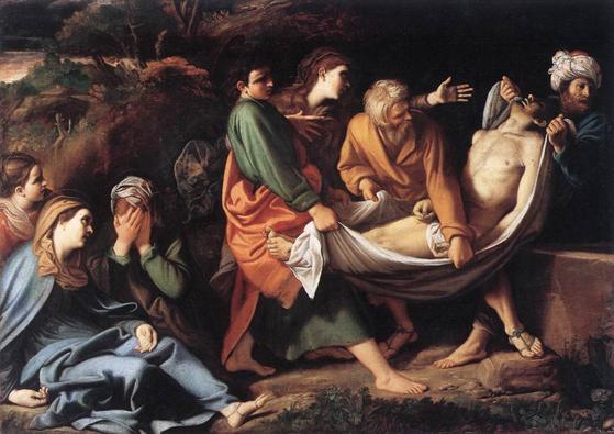 딘토레토의 작품 '그리스도의 매장'. 십자가에서 내린 예수의 주검을 천으로 된 들것에 실어 동굴무덤으로 옮기고 있다.