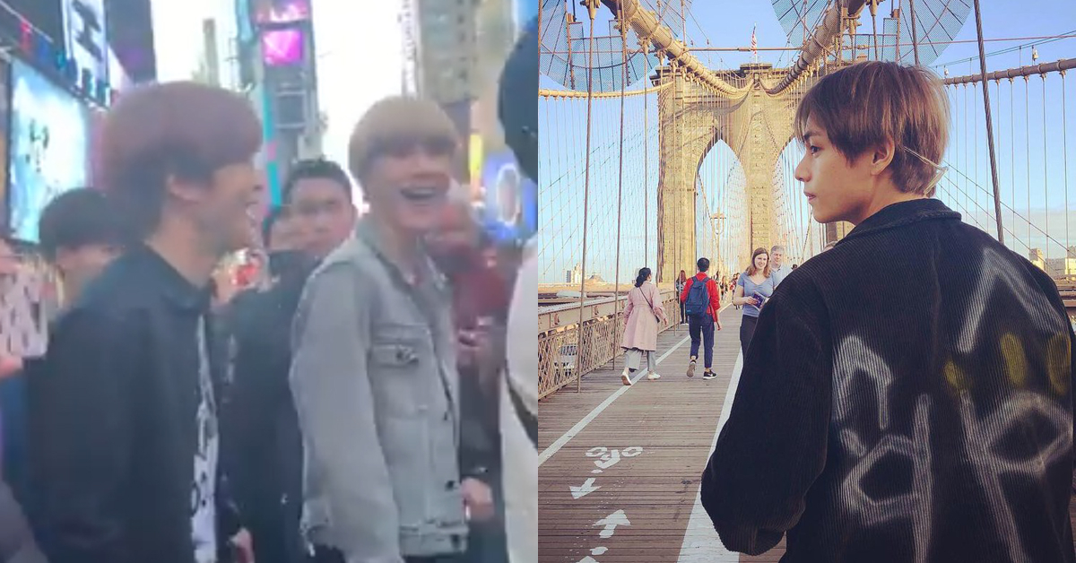 NCT in New York(left) and BTS V in New York(right). Photo from Twitter Screenshot and BTS Twitter