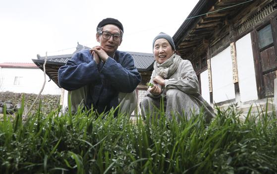 고진하 목사와 부인 권포근 여사가 강원도 원주의 자택에서 마당에 자라는 잡초를 소개하고 있다. 바람을 타고 날아와 뿌리 내린 80여 종의 잡초마다 고유한 이름이 있다. [임현동 기자]