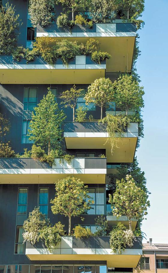 더 라움 펜트하우스는 자연에서 영감을 얻는 바이오필릭 디자인을 적용한다. 대표적인 것이 건물 외벽을 공기정화에 탁월한 수직정원으로 꾸민 '그린뷰' 디자인이다. [사진 트라움하우스]