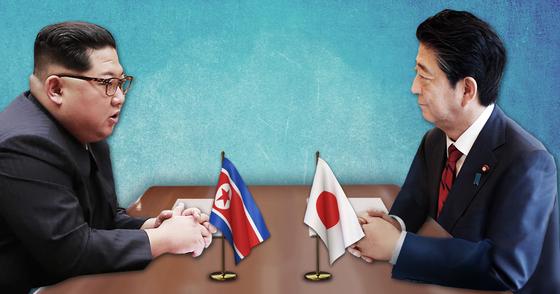김정은 북한 국무위원장(왼쪽)과 아베 신조 일본 총리 [연합뉴스]