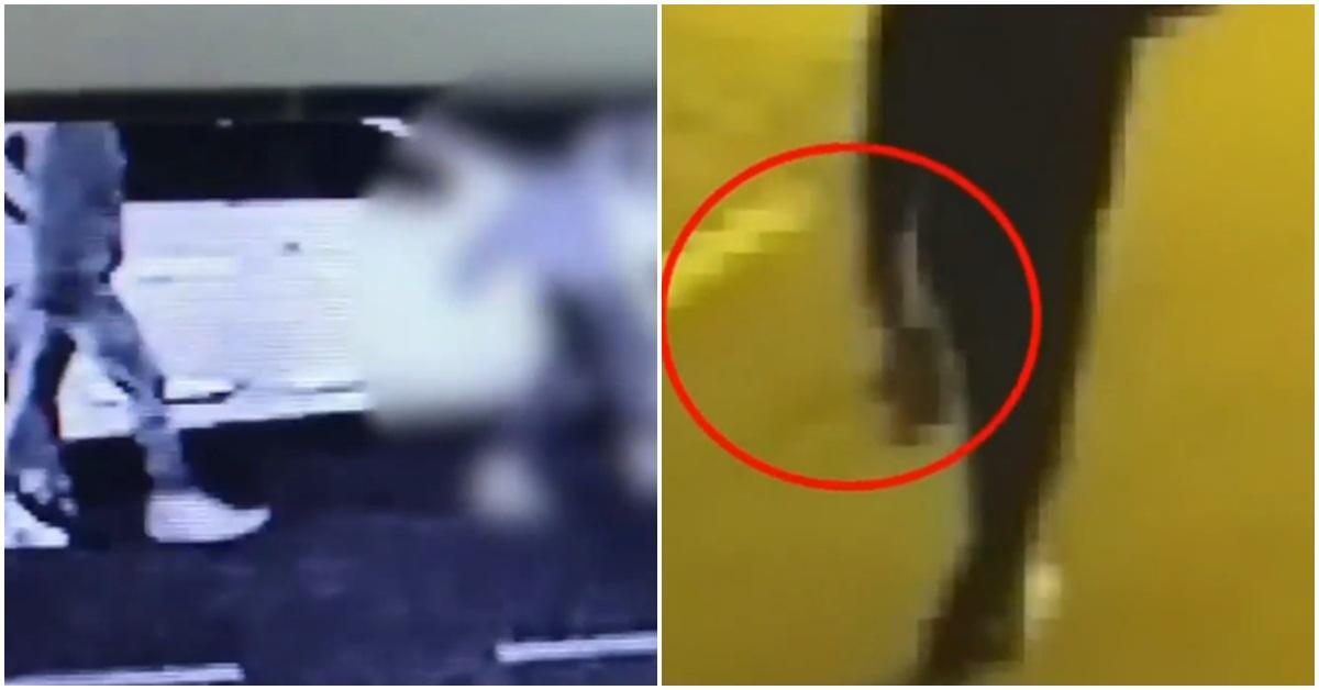 18일 오전 용의자 B씨가 여대생 A씨를 쫓아가고 있는 모습(왼쪽). 오른쪽은 B씨가 A씨가 들고 있던 핸드백을 들고 사라지는 모습.[사진 JTBC 영상 캡처]