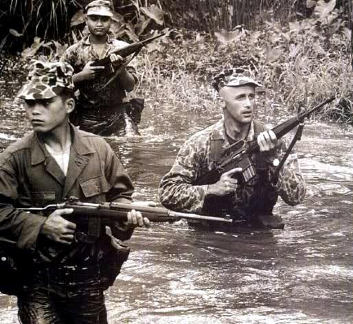 베트남 전쟁에서 미군은 초기에 M14와 M16을 동시에 사용했다. 그러나 곧 반동이 세고 무거운 M14을 버리고 가벼우면서도 명중률이 높은 M16으로 갈아탔다. 사진은 월남군과 합동 작전 중인 미군 특수부대원이 M16을 들고 개울을 건너고 있다. [중앙포토]