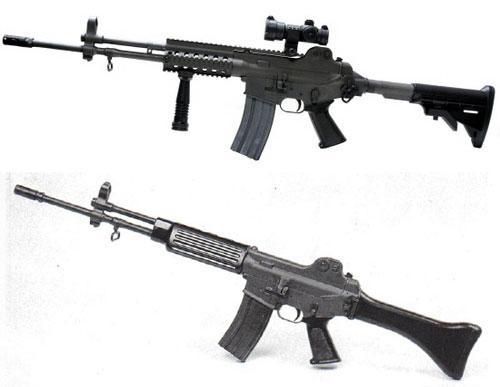 K2 소총(아래)의 개머리판과 총열을 교체한 K2C1(위). 전방 손잡이도 달렸다.