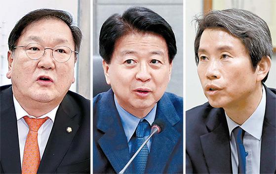 홍영표 민주당 원내대표의 임기가 끝나는 5월8일 새 원내대표 선출을 위한 선거가 치러진다. 후보로 나선 김태년·노웅래·이인영 의원(가나다순).