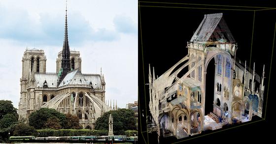 앤드루 탤런 바사칼리지 교수가 프랑스 파리 노트르담 대성당(왼쪽)을 3D 모형으로 구현해 놓고 세상을 떠났다. 오른쪽은 지난 18일 바사칼리지가 공개한 노트르담 대성당 3D자료의 일부분. [중앙포토, AP=연합뉴스]
