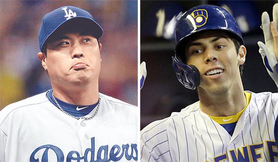 머쓱한 표정의 류현진(왼쪽)과 하루에 홈런 2개를 몰아친 크리스티안 옐리치. [AP=연합뉴스]