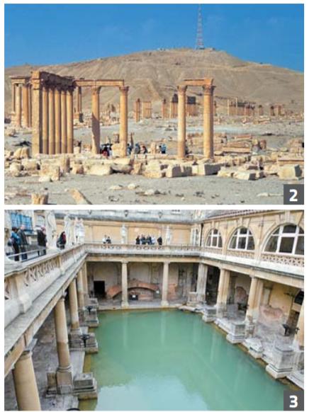 2 팔미라 전경. 로마시대 목욕탕 유적 뒤로 도시의 중앙로인 열주대로(列柱 大路)가 보인다. 대로의 주랑에는 가게 들이 빼곡하게 들어차 있었다. 3 영국 바스(Bath)의 로마 목욕탕 대 욕장. 로마제국이 영국을 지배했던 1세 기에 지었다. 과거 로마 목욕탕에서는 운동도 할 수 있었다. 눈여겨볼 것은, 그리스 사람들이 목욕을 운동에 수반 되는 과정으로 여겼다면 로마인들은 목욕을 더 좋아했다는 점이다. 공중목 욕탕에 운동할 수 있는 공간이 있었지 만 선택의 문제일뿐 필수적으로 거치 는 과정은 아니었다는 얘기다.