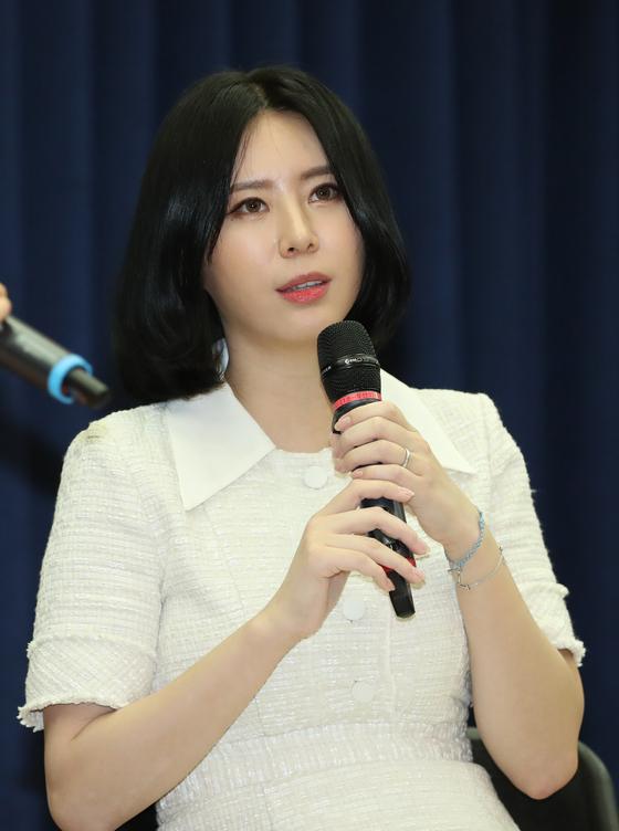 고 장자연 씨를 둘러싼 성 접대 강요 사건 증언자인 동료 배우 윤지오 씨. [연합뉴스]
