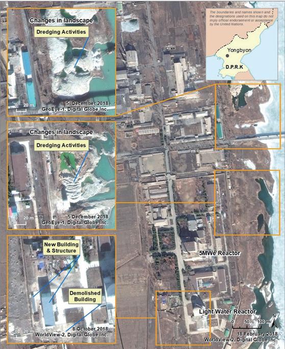 2019년 3월 공개된 영변 핵시설에선 활발한 움직임이 포착됐다. / 사진 : 유엔 대북제재위 보고서 캡처