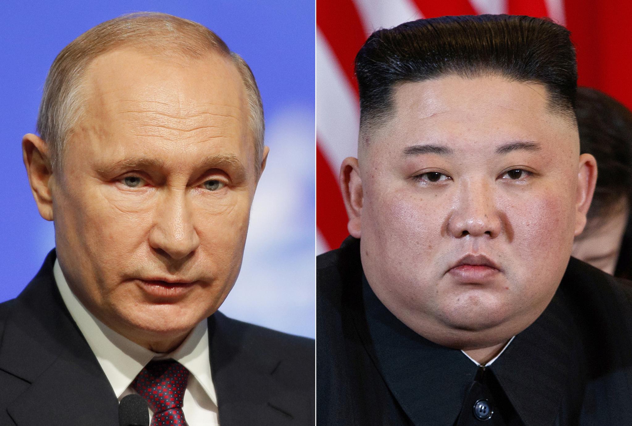 블라디미르 푸틴 러시아 대통령(왼쪽)과 방러 중인 김정은 북한 국무위원장이 25일 오후 첫 정상회담을 열 예정이다. [AP=연합뉴스]
