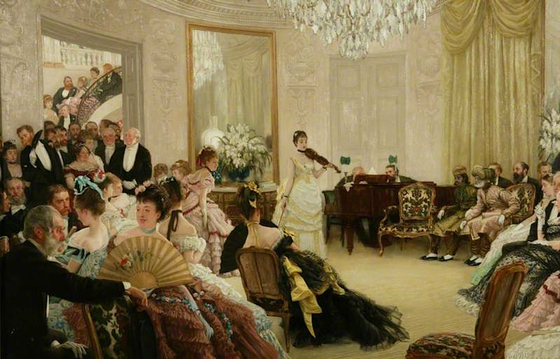 Hush(1875), 제임스 티쏘(James Tissot). 한 저택의 거실에서의 음악 모임(Musical Soiree). 맨체스터 미술관(Manchester Art Gallery) 소장. [사진 Wikimedia Commons(Public Domain)]