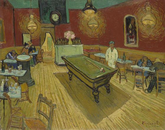 고흐의 '밤의 카페(Vincent van Gogh, 1888, Oil on canvas)'에 등장한 당구대. 당구는 귀족 스포츠로 유럽에서 시작해 일본을 거쳐 한국에 들어왔다. [그림 yale university art gallery]