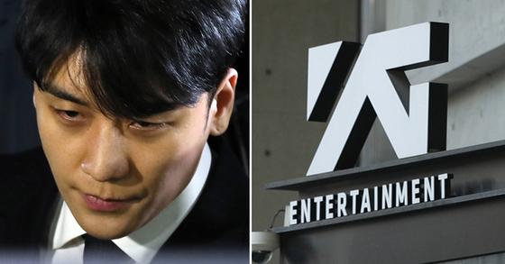 승리(왼쪽)의 투자자 성매매 알선 의혹을 수사 중인 경찰이 '성접대'가 이뤄진 서울의 한 호텔 숙박비를 승리가 YG엔터테인먼트 법인카드로 결제했다고 밝혔다. [중앙포토·연합뉴스]
