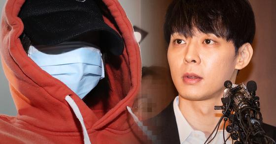 그룹 JYJ 멤버 박유천씨(오른쪽)는 10일 경찰로부터 황하나씨가 지목한 A씨라는 연락을 받고 기자회견을 이날 열었다. [연합뉴스]