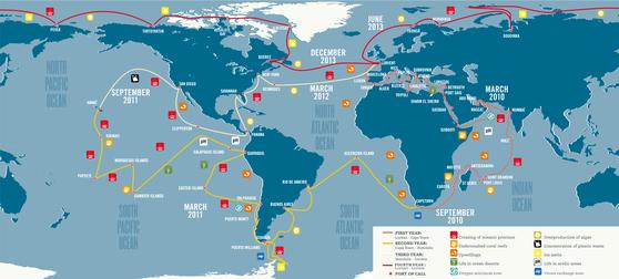 전세계 20개국 약 200명의 과학자가 참여한 타라 오션스 엑스퍼디션은 전 세계 약 80곳에서 145개의 바닷물 샘플을 채취, 그 안에서 약 20만종의 바이러스 종을 식별해냈다. [그래픽제공=타라재단]