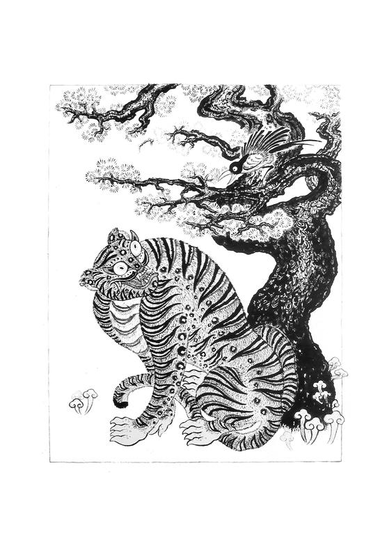 타투이스트 아프로 리가 민화 속 '작호도'를 재해석한 타투 작품.