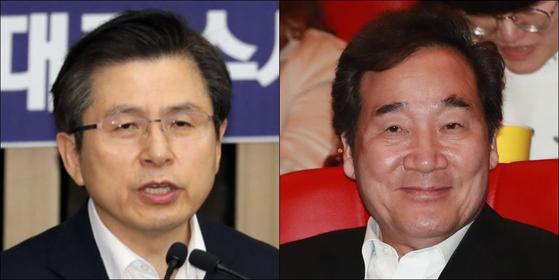 황교안 자유한국당 대표(왼쪽)과 이낙연 국무총리. [뉴스1, 연합뉴스]