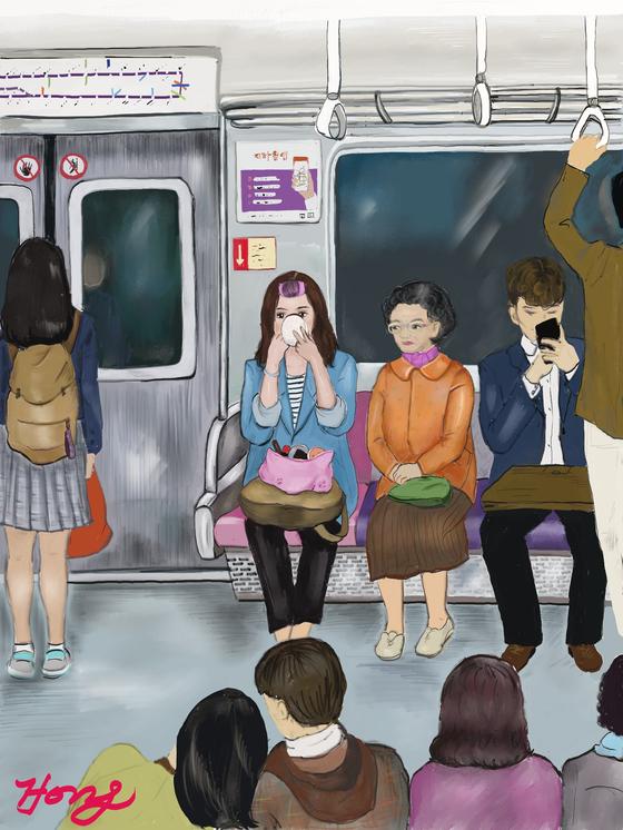 시간에 쫓겨 출근길 지하철에서 화장을 하는 직장여성의 바쁜 아침. by 갤럭시노트 8 아트레이지 사용. [그림 홍미옥]