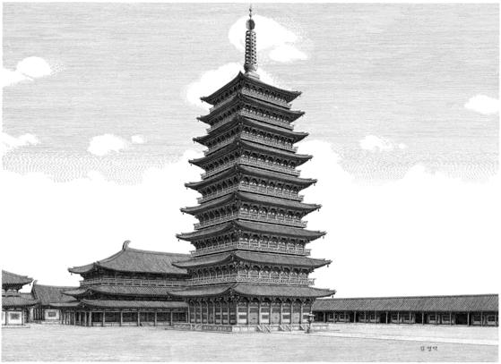 김영택이 김동현의 복원 설계와 사료를 참고해 그린 황룡사 9층목탑 복원도. [사진 김영택]