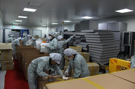 생산된 독감백신은 냉매와 함께 3중 포장된 박스에 실려 전세계 각지로 배송된다. [사진 GC녹십자]